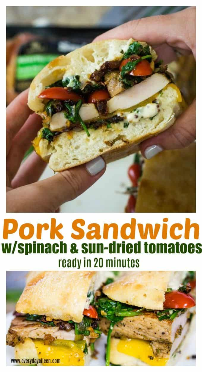 Easy Pork Sandwich made with @SmithfieldBrand from @Walmart topped with fresh spinach and sun-dried tomatoes! So flavorful! Ready in about 20 minutes. Perfect for any weeknight meal, great for tailgate and homegating! #ad #SmithfieldFast #RealFlavorRealFast via @everydayeileen