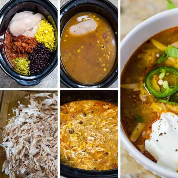 collage of how to make slow cooker enchilada soup