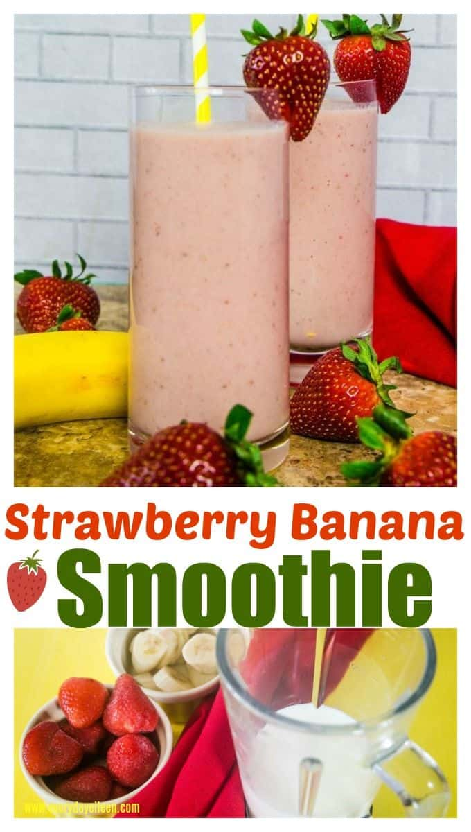 Strawberry Banana Smoothie, easy to prepare and so delicious! Perfect for a quick breakfast, after school snack, or post workout! Just a few simple natural ingredients fruit and milk, no yogurt needed! #ad #Back2School #OmegaPals #HamiltonBeach #smoothieswithoutyogurt #everydayeileen via @/everydayeileen/