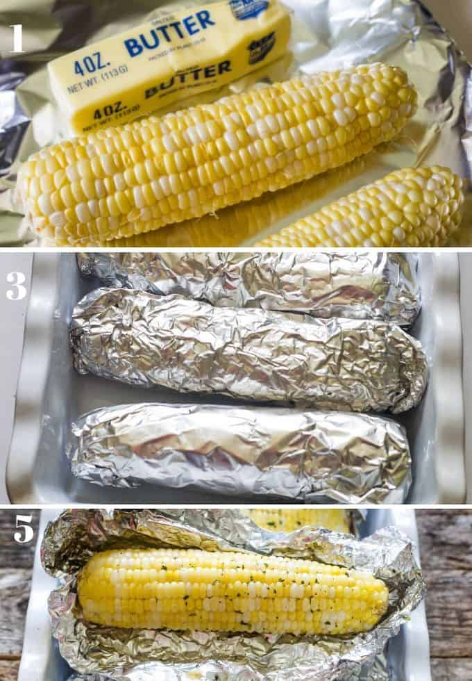 step by step pictorial of how to roast corn