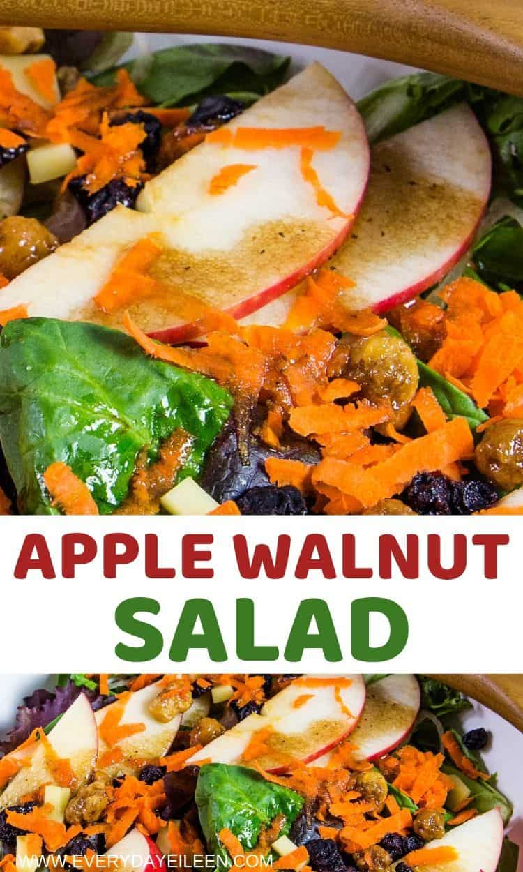 An easy homemade apple walnut salad topped with a maple vinaigrette. A nutritious salad for lunch or a side dish. Suggestions to make this a dinner salad included. #ad #everydayeileen #applewalnutsalad #stemilt via @/everydayeileen/