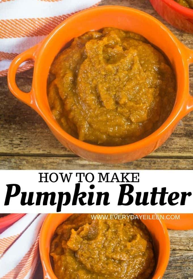 Easy homemade pumpkin butter ready in less than 30 minutes. Made with canned pumpkin puree and simple spices. Stovetop and slow cooker instructions included. Perfect for breakfast, smoothies, granola, add to baking recipes.  #ad #everydayeileen #pumpkinweek #pumpkinbutter #dixiecrystalsugar via @/everydayeileen/