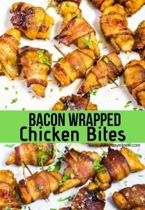 A collage of chicken bites wrapped in bacon
