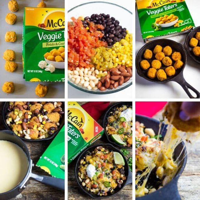 A collage tutorial to make veggie tater totchos.