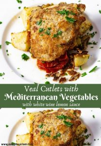 Delicious veal cutlets top Mediterranean vegetables with a white wine sauce