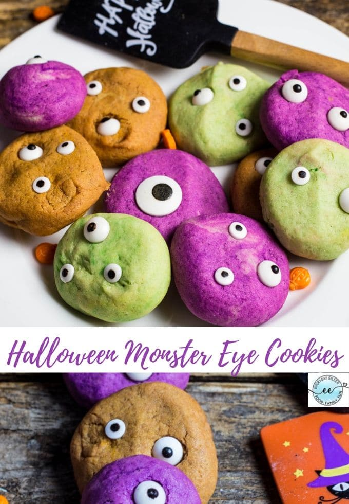 Halloween Monster Eye Cookies, festive and fun homemade vanilla cookies that take little time to prepare and are creamy and delicious. A fun Halloween snack to enjoy. Great for parties and making with the family. #ad #HalloweenTreatsWeek #MonsterEyeCookie #HalloweenCookies #everydayeileen via @/everydayeileen/