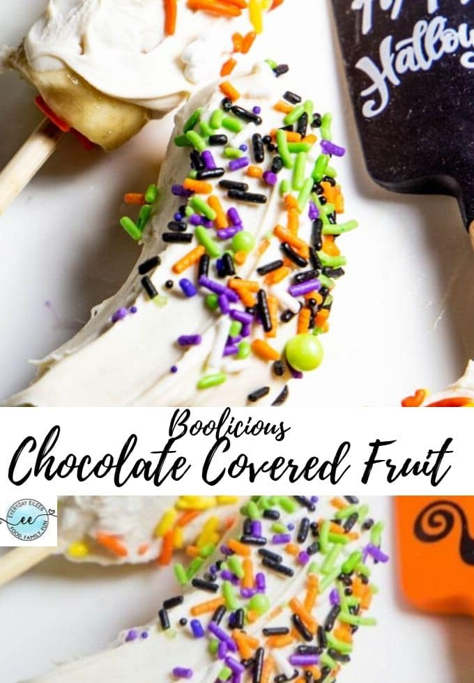 Festive Halloween fruit dipped in white chocolate and decorated with Halloween sprinkles. Great treat for Halloween parties and making a Halloween snack. #ad #HalloweenTreatWeek #Halloweensnack #everydayeileen via @/everydayeileen/