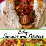 collage of authentic sausage and peppers