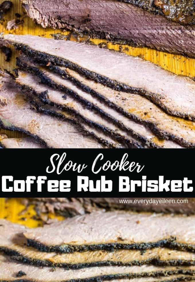 Slow Cooker Coffee Rub Brisket Recipe is sweet, smoky, and bold flavors. Easy DIY coffee rub adds aromatic flavors for an outstanding brisket. Perfect for a family dinner, feed a crowd, tailgate, fall and winter comfort food. #ad #coffeerubbeefbrisket #FallFlavors #slowcookerbrisket #everydayeileen via @/everydayeileen/