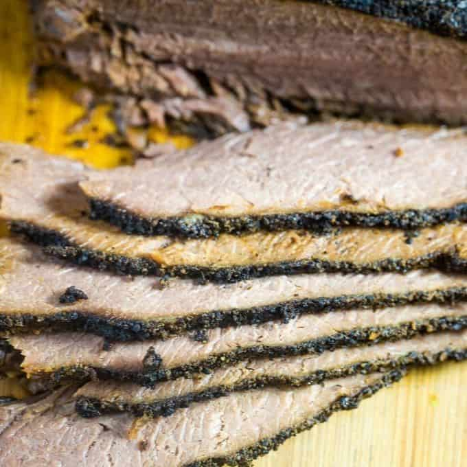 coffee rub brisket that has been sliced and ready to serve