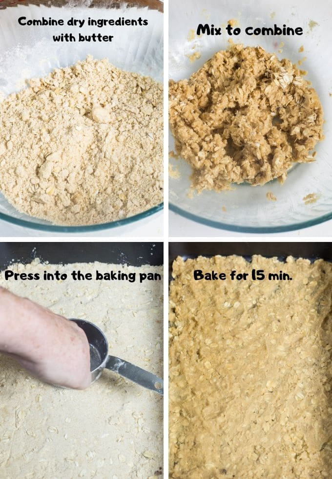 Collage of how to make the crust for pumpkin pie bars