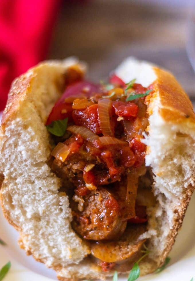 Savory sausage and peppers on a hoagie