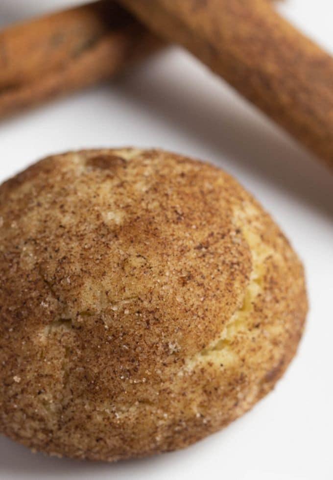cinnamon sugar cookie on a white plate.
