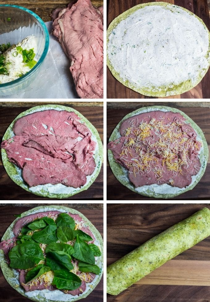 step by step tutorial on making a roast beef tortilla rollups