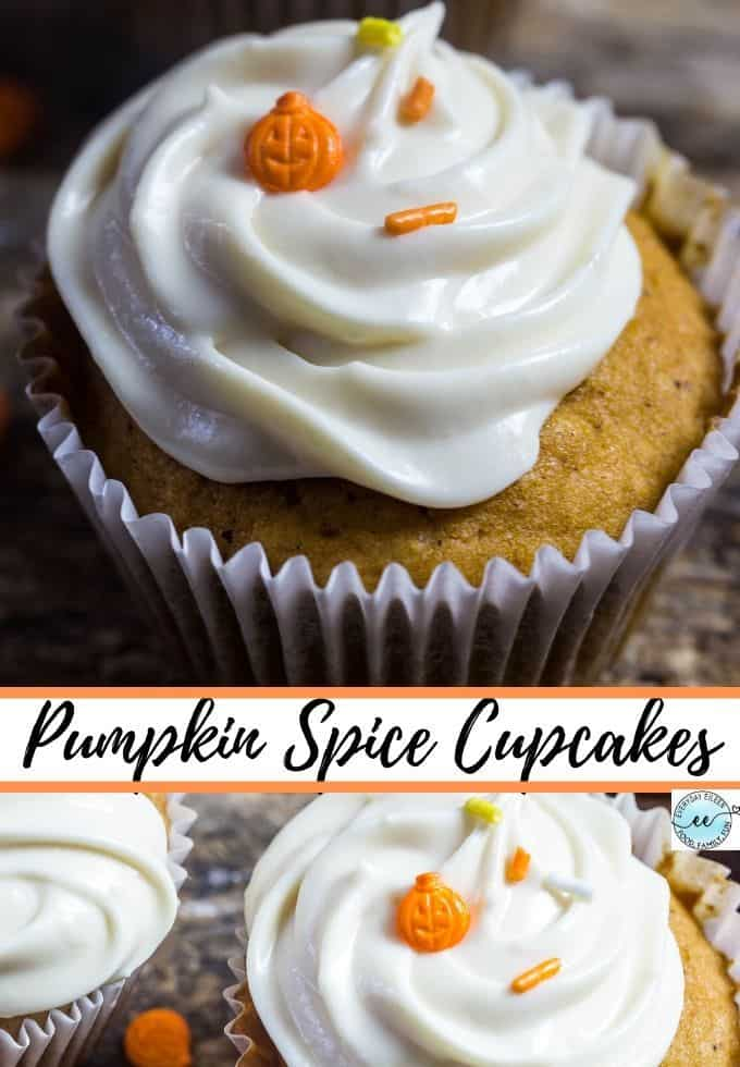 Homemade pumpkin spice cupcake from scratch topped with a luscious creamy maple frosting. A moist and flavor-filled cupcake. Great for Halloween, Thanksgiving, and festive fall parties. #pumpkinspicecupcake #pumpkincupcake #pumpkinmaplecreamcheesecupcake #everydayeileen via @/everydayeileen/