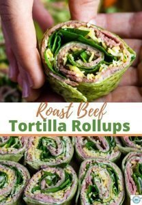 A collage of roast beef tortilla rollups