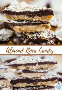 A pinterest image of almond roca candy