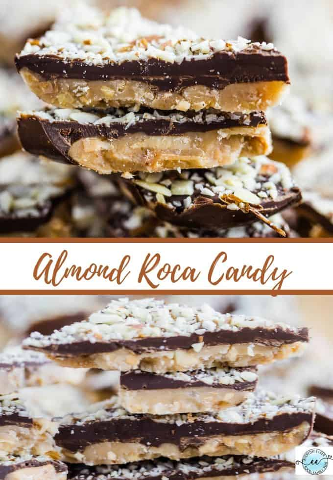 Homemade Almond Roca recipe, a delicious candy filled with chocolate, almonds, and sweet candy. Fabulous treats for the family, holiday gifts for teachers and friends. Great for tailgate snacks. #almondroca #homemadecandy #everydayeileen #holidaycandy via @/everydayeileen/