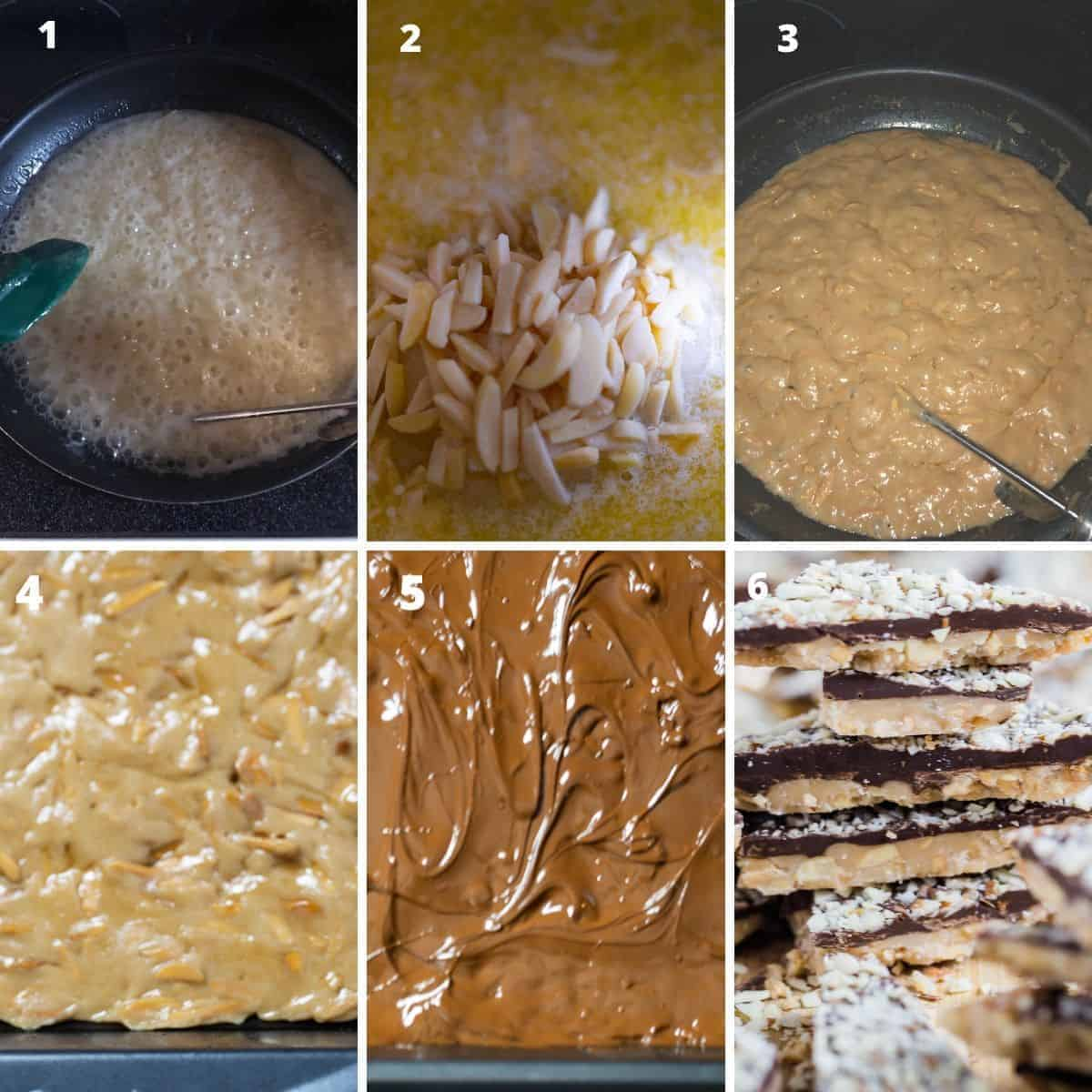 A step by step tutorial on how to make almond roca candy