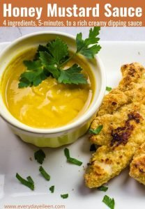 Creamy honey mustard dip with parmesan chicken tenders