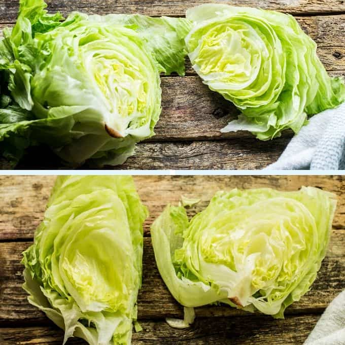 iceberg lettuce cut into wedges for a wedge salad.
