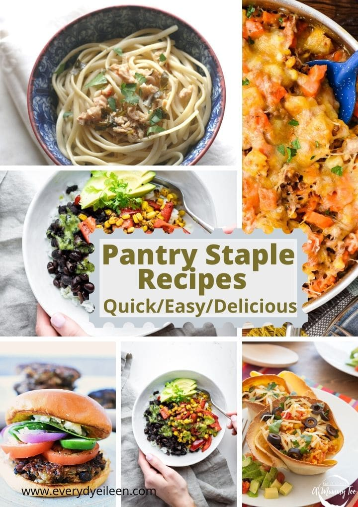 Multiple phottos of recipes made with pantry staples such as pasta, beans, and, tomatoes