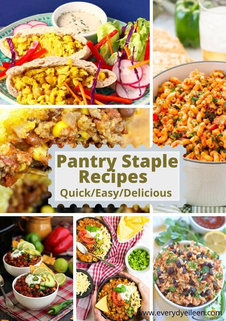 multiple photos of recipes made with items from the pantry to make lunch and dinner.