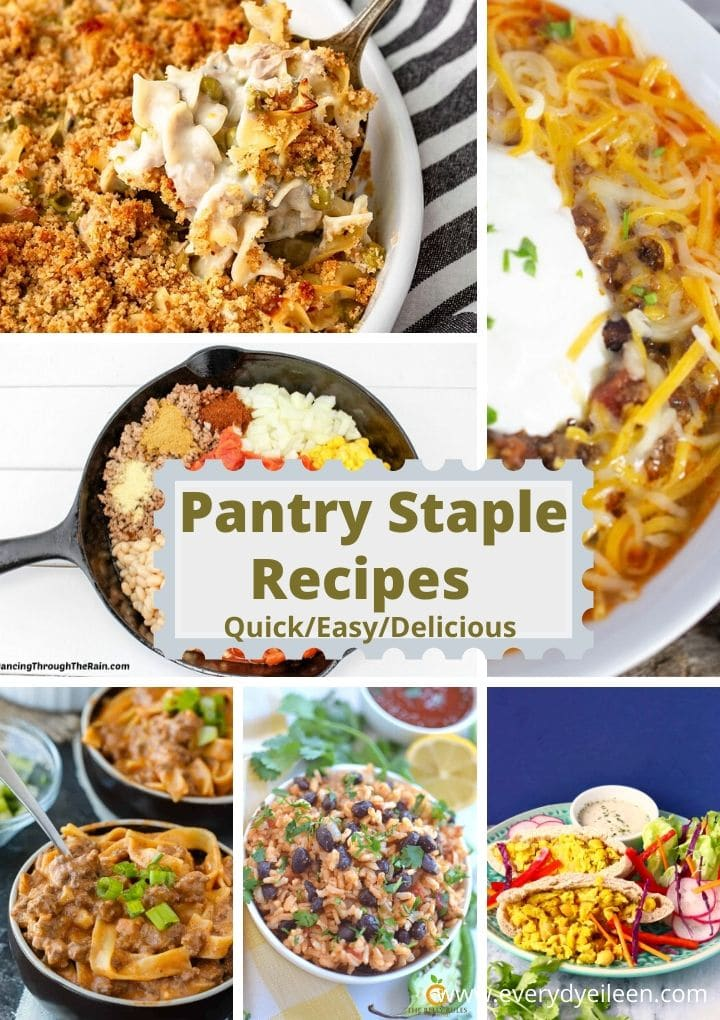 recipes made from pantry staples tuna casserole, chili, rice and beans