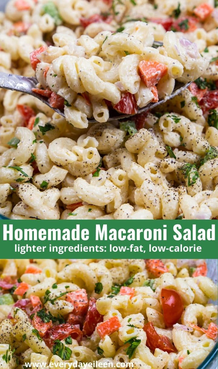 Homemade Macaroni Salad, made with lighter ingredients and lots of veggies making this lower in fat and calories. Perfect for BBQs, picnics, pot lucks, tailgates, summer parties, and Lenten dinner #recipe #homemademacaronisalad #macaronisalad #everydayeileen via @/everydayeileen/