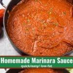 homemade marinara sauce collage of sauce in a large pan