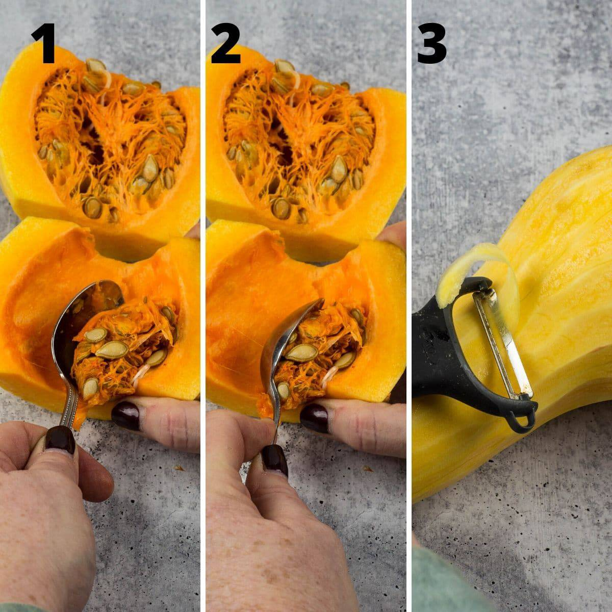 butternut squash sliced open,seeds being removed, last photo peeling squash