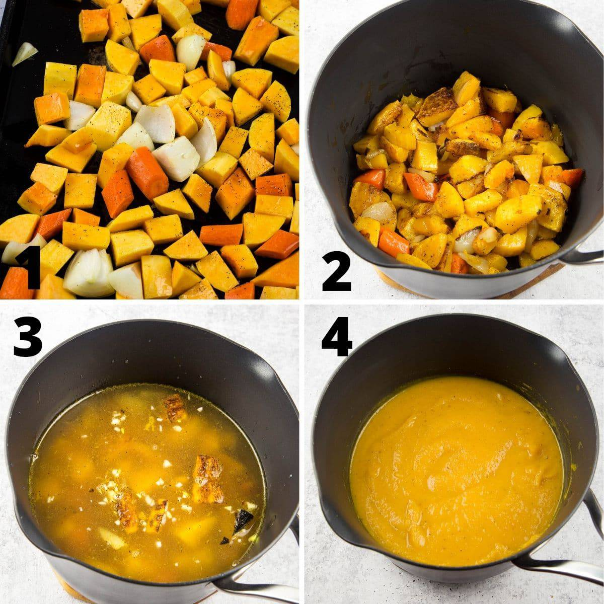 step by step roasting of butternut squash, onions,and carrots to make soup
