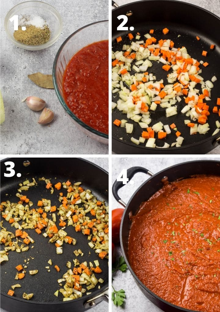 a collage of thee steps to make marinara sauce