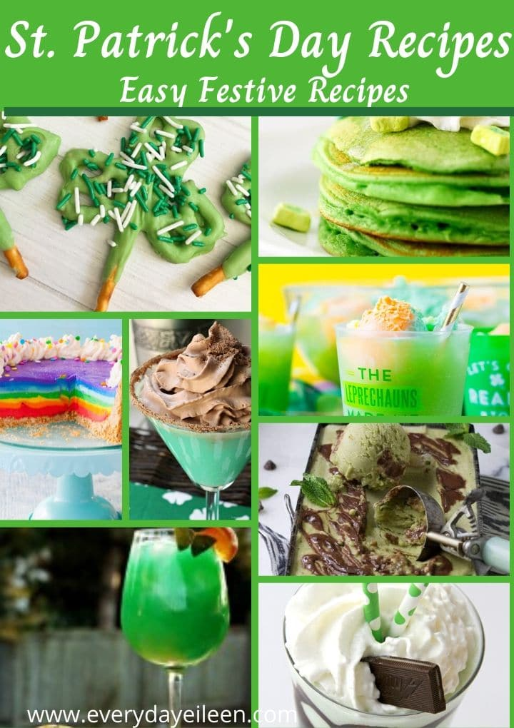 a collage of recipes to celebrate St. Patrick's Day for breakfast, cocktails, aand desserts.