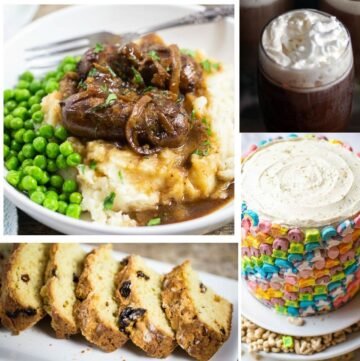 collage of recipes for irish coffee, bangersand mash for St. Patrick's day recipes