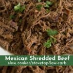 slow cooked shredded Mexican beef collage