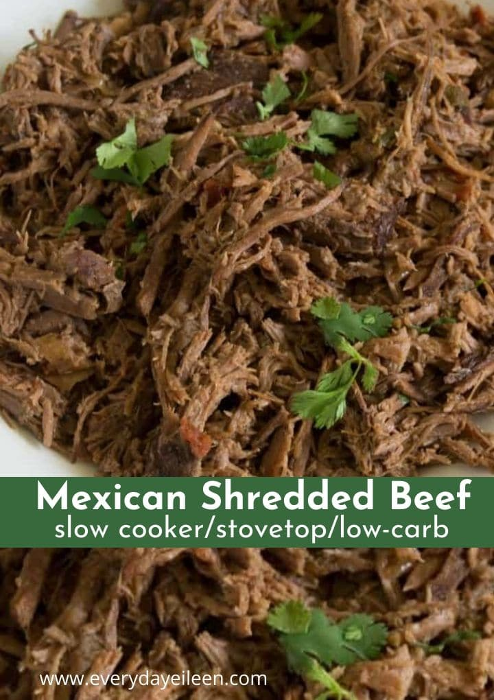 Slow-cooked Mexican shredded beef, perfect for tacos, quesadillas, enchiladas. Instructions include stovetop cooking also. #mexicanshreddedbeef #cincodemayo #shreddedbeef #everydayeileen via @/everydayeileen/