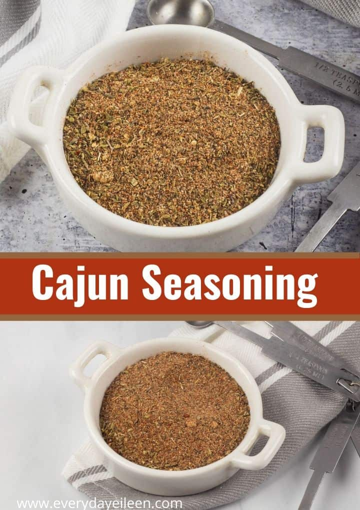 Homemade Cajun Seasoning, an easy blend of spices to make tasty recipes like shrimp and pasta. Robust flavors from simple pantry staples to make a DIY seasoning blend. #cajunseasoning #cajunspices #everydayeileen via @/everydayeileen/
