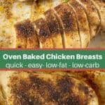 collage of oven baked chicken breasts