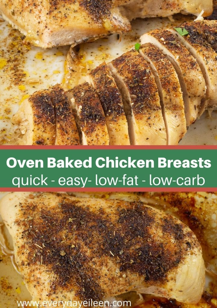 Enjoy tender oven baked boneless chicken breast recipe that is low-carb and low-fat. Perfectly seasoned with a simple blend of spices for melt in your mouth results. #ovenbaakedchickenbreasts #lowcarbchicken #everydayeileen via @/everydayeileen/