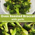 collage of photos for broccoli and garlic