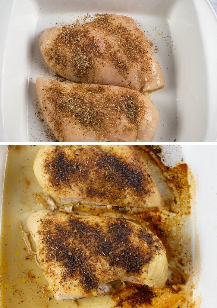 Stepby step collage of placing seasoning on boneless chicken and then the cooked chicken
