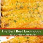 a collage of photos of tortillas filled with beef and beans, topped with melted cheese