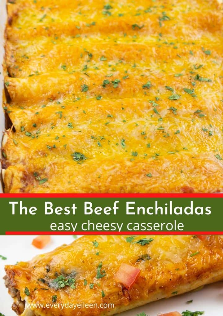 Easy ground beef enchiladas recipe with a tasty center filled with beef, beans, and cheese. The flour tortillas are topped with homemade red enchilada sauce and Colby jack and cheddar cheese. #beefenchiladas #easybeefenchiladas #cincodemayo #everydayeileen via @/everydayeileen/