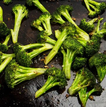 Roasted broccoli florets with garlic