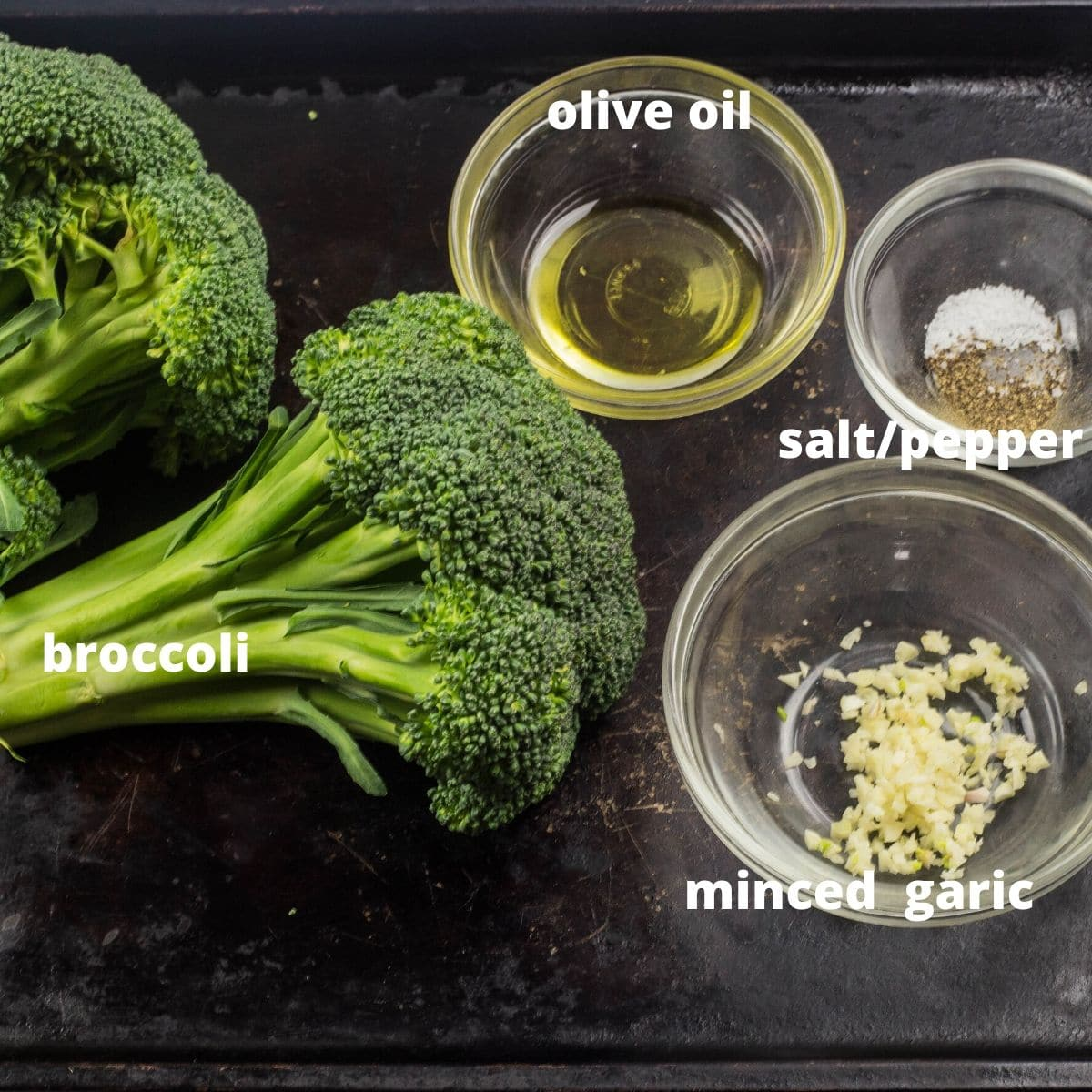 ingredient pictorial of broccoli, olive oil, and garlic.