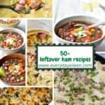 Collage of recipes of leftover ham