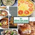 collage of leftover ham recipes including ham and pea pasta, frittata, quinoa