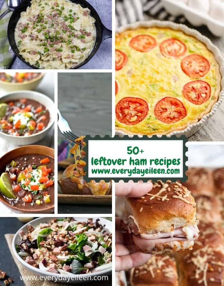 Over 50 creative recipes to use your Holiday ham leftovers such as fried rice, breakfast burritos, casseroles, soups, and chowders. #leftoverham #hamcasseroles #holidayhamleftovers #everydayeileen via @/everydayeileen/