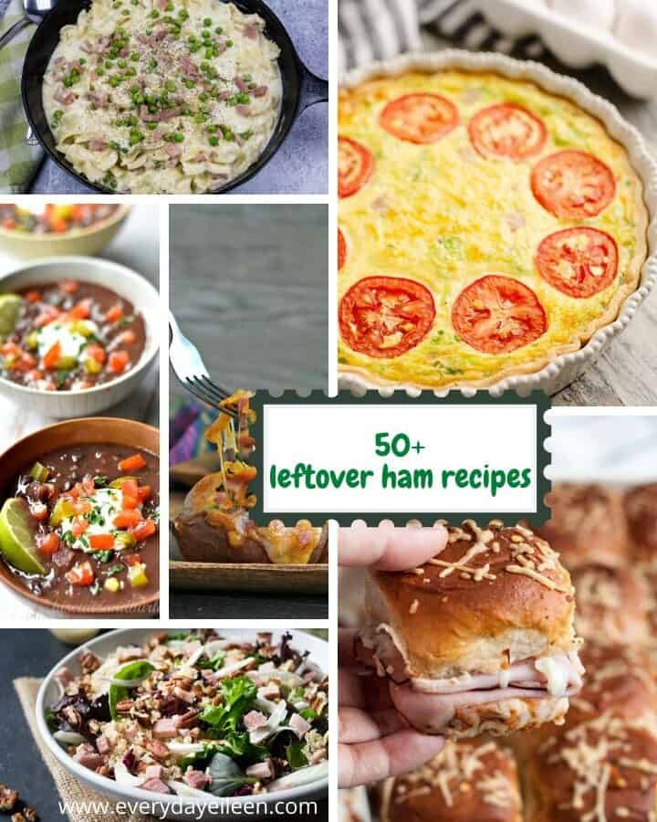 collage of leftover ham recipes including ham and pea pasta, frittata, quinoa